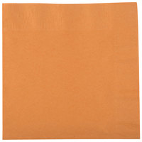 Creative Converting 323384 Pumpkin Spice Orange 2-Ply 1/4 Fold Luncheon Napkin - 50/Pack