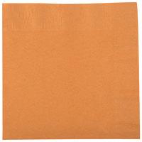 Creative Converting 323384 Pumpkin Spice Orange 2-Ply 1/4 Fold Luncheon Napkin - 50/Pack