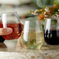 Visions 4 oz. Clear Plastic Stemless Wine Sampler Glass - 8/Pack