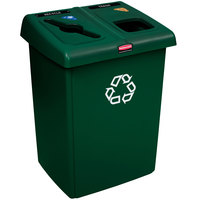 Rubbermaid 1792340 1/2 Glutton Green Recycling Station - 46 Gallon