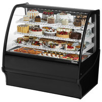 True TDM-R-48-GE/GE 48 inch Black Curved Glass Refrigerated Bakery Display Case