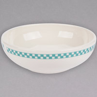Homer Laughlin 5451789 Turquoise Checkers 55 oz. Ivory (American White) Medium Bistro Bowl - 6/Case