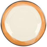 GET WP-10-DI-KNO Kanello 10 1/2 inch Round Diamond Ivory Wide Rim Melamine Plate with Kanello Orange Edge   - 12/Pack
