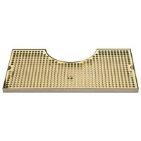 Micro Matic BVL-120LDSSPVD Zeus 10 inch x 19 3/4 inch PVD Brass Surface Mount Drip Tray with 8 3/8 inch x 3 1/2 inch Column Cutout