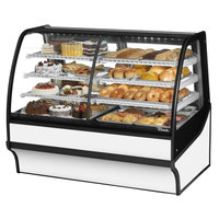 True TDM-DZ-59-GE/GE 59 inch White Curved Glass Dual Dry / Refrigerated Bakery Display Case
