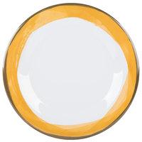 GET WP-10-DW-KNY Kanello 10 1/2 inch Round Diamond White Wide Rim Melamine Plate with Kanello Yellow Edge   - 12/Pack