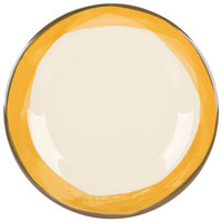 GET WP-10-DI-KNY Kanello 10 1/2 inch Round Diamond Ivory Wide Rim Melamine Plate with Kanello Yellow Edge   - 12/Pack