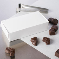7 3/8 inch x 3 5/8 inch x 1 7/8 inch White 1 1/4 lb. 1-Piece Candy Box   - 25/Pack