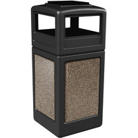 Commercial Zone 72055299 StoneTec 42 Gallon Black Trash Receptacle with Riverstone Panels and Ashtray Dome Lid