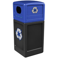 Commercial Zone 74615999 42 Gallon Black Recycling Receptacle with Blue Lid and Decals