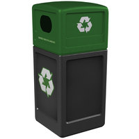 Commercial Zone 74615899 42 Gallon Black Recycling Receptacle with Green Lid and Decals