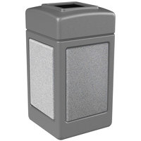 Commercial Zone 720311 StoneTec 42 Gallon Gray Trash Receptacle With Ashtone Panels