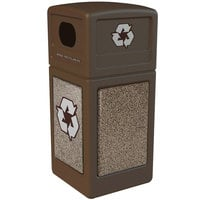 Commercial Zone 72235599 StoneTec 42 Gallon Brown Recycling Container with Riverstone Panels