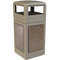 Commercial Zone 72041599 StoneTec 42 Gallon Beige Trash Receptacle with Riverstone Panels and Dome Lid