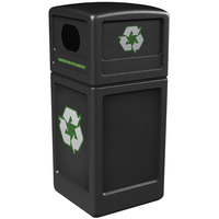 Commercial Zone 74610199 42 Gallon Black Recycling Receptacle with Green Decals
