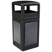 Commercial Zone 72041399 StoneTec 42 Gallon Black Trash Receptacle with Pepperstone Panels and Dome Lid