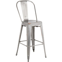 Gunmetal Steel Bar Height Chair with Vertical Slat Back and Drain Hole Seat