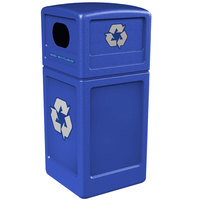 Commercial Zone 74610499 42 Gallon Blue Recycling Receptacle with Blue Decals