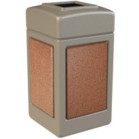 Commercial Zone 720316 StoneTec 42 Gallon Beige Trash Receptacle with Sedona Panels