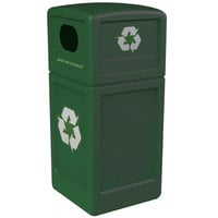 Commercial Zone 74615399 42 Gallon Green Recycling Receptacle with Green Decals