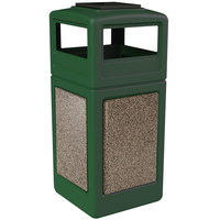 Commercial Zone 72055499 StoneTec 42 Gallon Forest Green Trash Receptacle with Riverstone Panels and Ashtray Dome Lid