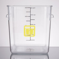 Rubbermaid 1980333 Color-Coded Clear 8 Qt. Square Food Storage Container with Yellow Logo