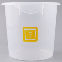 Rubbermaid 1980397 Color-Coded Translucent 4 Qt. Round Food Storage Container with Yellow Logo