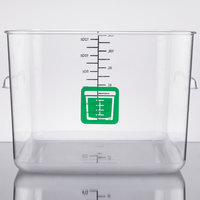 Rubbermaid 1980996 Color-Coded Clear 12 Qt. Square Food Storage Container with Green Logo