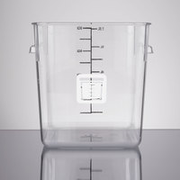 Rubbermaid 1980249 Color-Coded Clear 8 Qt. Square Food Storage Container with White Logo