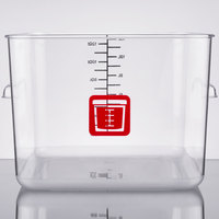 Rubbermaid 1980995 Color-Coded Clear 12 Qt. Square Food Storage Container with Red Logo