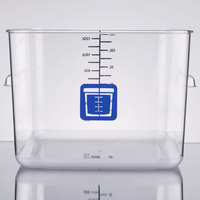 Rubbermaid 1980997 Color-Coded Clear 12 Qt. Square Food Storage Container with Blue Logo