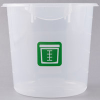 Rubbermaid 1980395 Color-Coded Semi Clear 4 Qt. Round Food Storage Container with Green Logo