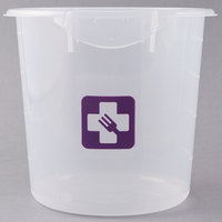 Rubbermaid 1980398 Color-Coded Translucent 4 Qt. Round Food Storage Container with Purple Logo