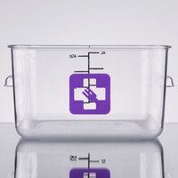 Rubbermaid 1980247 Color-Coded Clear 4 Qt. Square Food Storage Container with Purple Logo