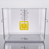 Rubbermaid 1980998 Color-Coded Clear 12 Qt. Square Food Storage Container with Yellow Logo