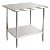 """Advance Tabco SAG-300 30"""" x 30"""" 16 Gauge Stainless Steel Commercial Work Table with Undershelf"""