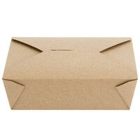 Choice 7 3/4 inch x 5 1/2 inch x 2 1/2 inch Kraft Microwavable Folded Paper #3 Take-Out Container - 200/Case