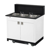 Vollrath 75673 WHITE Portable Triple Bowl Hand Sink Cart 120V
