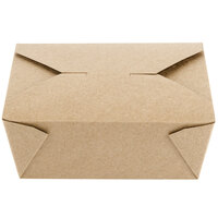 Choice 6 inch x 4 5/8 inch x 2 1/2 inch Kraft Microwavable Folded Paper #8 Take-Out Container - 300/Case