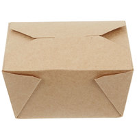 Choice 5 inch x 4 inch x 3 inch Kraft Microwavable Folded Paper #1 Take-Out Container - 450/Case