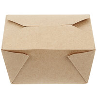 Choice 4 5/8 inch x 3 1/2 inch x 2 1/2 inch Kraft Microwavable Folded Paper #1 Take-Out Container - 450/Case