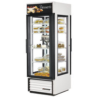 True G4SM-23PT-LD White Pass-Through Four Sided Glass Door Refrigerator Merchandiser with Front Sign - 23 Cu. Ft.