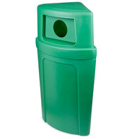 Continental 8325-2 Corner'Round 21 Gallon Green Corner Recycling Container with Dome Lid and Hole