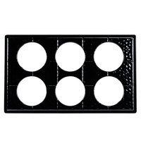 GET ML-171-BK Full Size Black Melamine Adapter Plate with Six Cut-Outs for Six Round Crocks