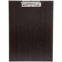 Choice 12 1/2 inch x 9 inch Dark Wood Menu Holder / Presenter with Clip