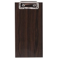 Choice 4 inch x 8 inch Dark Wood Color Menu Holder / Check Presenter with Clip