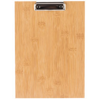 Choice 12 1/2 inch x 9 inch Natural Wood Menu Holder / Presenter with Clip