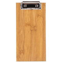 Choice 8 inch x 4 inch Natural Wood Menu Holder / Check Presenter with Clip