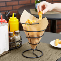 Clipper Mill by GET 4-32800 7 inch Black Iron Powder Coated Spiral Wire Cone Basket