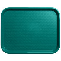 Carlisle CT141815 Customizable Cafe 14 inch x 18 inch Teal Standard Plastic Fast Food Tray - 12/Case